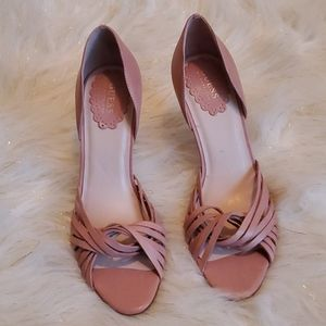 Guess pink leather open-toe heels